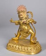 Tibetansk Vajrapani / Mahakala Bodhisattva / Buddha-figur af forgyldt bronze, 1800/1900-tallet