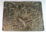 Bronzerelief, Wirtshausszene, Kamindeko