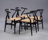 Hans J. Wegner. Four Wishbone chairs, model CH24, black-varnished wood (4)