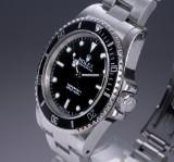 Rolex 'Submariner No Date'. Men's watch, steel, with black dial, box + certificate, 1990