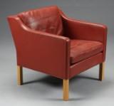 Børge Mogensen. Lænestol, model 2421, cognacfarvet læder