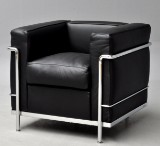 Le Corbusier. LC2 lounge chair, black leather