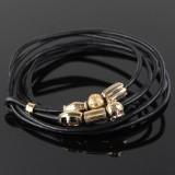 SPOIL armbånd i sort læder med 6 charms