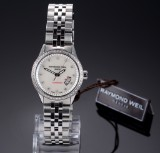 Raymond Weil 'Freelancer Lady' watch, steel, mother-of-pearl dial, diamonds - box + cert. 2017