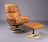 Lænestol samt skammel, cognacfarvet læder (2)