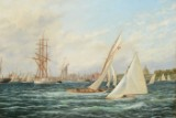 C. V. Bunch, oil on canvas, sailing boats in Copenhagen Harbour