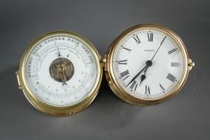 Junshans skibsur samt Schatz barometer, messing (2)