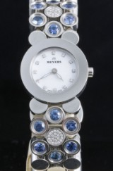 Meyers diamond ladies watch with blue sapphires approx. 0.50ct