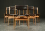 Seks stole, eg og læder, Nova møbler