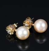 A pair of South Sea pearl and diamond earrings, 18 kt. gold (2)
