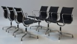 Charles Eames. A set of six armchairs, model EA-108, black hopsack (6)