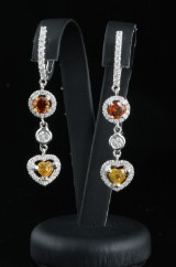 18kt Handmade diamond and gem earrings approx. 2.00ct By Cordoba Jewellery, with ID report.