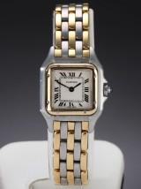 Cartier 'Panthere'. Dameur i 18 kt. guld og stål med lys skive, 1990'erne