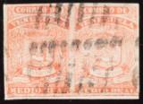 Venezuela 1861 - ½ Real 1. Ausgabe in Fehlfarbe rot mit Fotoattest Dr. Heister - Scott 4d und Blanco 7a