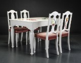 Rikke Darling (cd). Dining table and chairs, spray and acrylic (5)