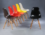 Charles Eames. Set of six multicolour shell chairs, Model DSW (6)