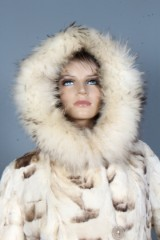 Clipped Jaguar Mink coat, hood with raccoon, size 36/38