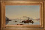 I. E. C. Rasmussen. Scene fra en Grønlandsk fjord, olie på lærred