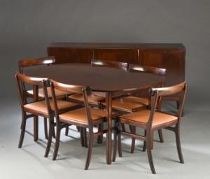 Ole Wanscher. Spisebord med stole, mahogni, Rungstedlund (10 ...