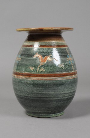 harald folmer gross knabstrup teglv rk vase med hjorte keramik. Black Bedroom Furniture Sets. Home Design Ideas