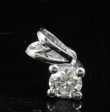 Pendant 18kt set with a brilliant cut diamond 0.25 ct