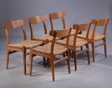Hans J. Wegner. Six chairs, model CH23, with oak frame (6)