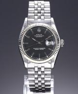 Rolex 'Datejust'. Vintage men's watch, steel with black dial, c. 1973