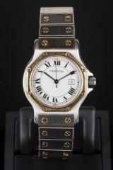 Cartier Santos watch 18 kt. gold and steel