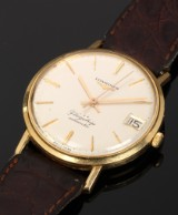 Longines 'Flagship'. Vintage men's watch, 18 kt. gold with date, c. 1965