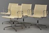 Charles Eames. Sæt på fire armstole / kontorstole fra serien 'Aluminium Group' model EA-108 (4)