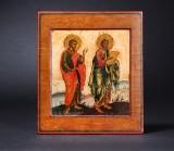 Russisk-ortodoks ikon. To helgener. 17-/1800-tallet