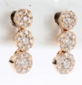 Diamant ørestikker fra FHP, 14 kt. rosa guld. 0.30 ct. (2)
