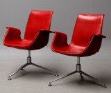 Preben Fabricius and Jørgen Kastholm. A pair of 'Tulip' chairs in Ferrari red leather (2)