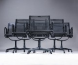 Charles Eames. Set of six lounge chairs with black mesh, black-varnished, Model 108 (6)