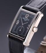 Patek Philippe 'Gondolo'. Men's watch, 18 kt. white gold with black dial, c. 2000