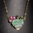Halskette mit Jade, Saphir, Diamant und Smaragd, 585er Gold