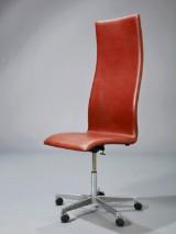 Arne Jacobsen. Oxford kontorstol med høj ryg. Brown Label