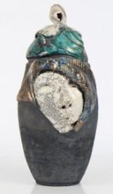 Dorit Knudsen. Lågkrukke, Raku keramik, H. 42 cm.