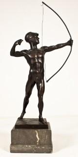 Okänd konstnär, skulptur i brons, antik krigare med pilbåge