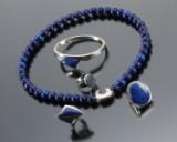 N. E. From. Smykkesæt af sterlingsølv med lapis lazuli (5)