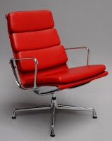 Charles Eames. Soft Pad easy chair, model EA-215, Ferrari red leather