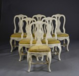 11 Swedish chairs, white-painted wood, Rococo style (11)