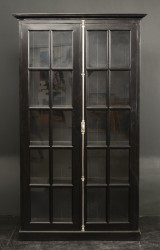 Display / kitchen cabinet, French country style, black antique paint finish