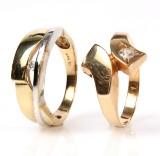 Jens J. Aagaard. Diamantring, 14 kt samt øvrig guldring (2)