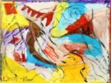 Walter Linis, figurkomposition, olie på lærred, Sfære