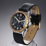 Hanhart 'Flieger Chronograph'. Vintage men's watch, steel, black dial, 1940s