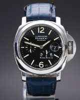 Panerai 'Luminor Power Reserve'. Men's watch in steel with black dial, c. 2000s