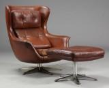 Langfeld Design. Lænestol samt skammel, 1960/70'erne (2)
