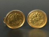 Coin cuff links with a half sovereign (2)