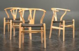 Hans J.Wegner. Four Wishbone chairs, ash and maple with black papercord (4)